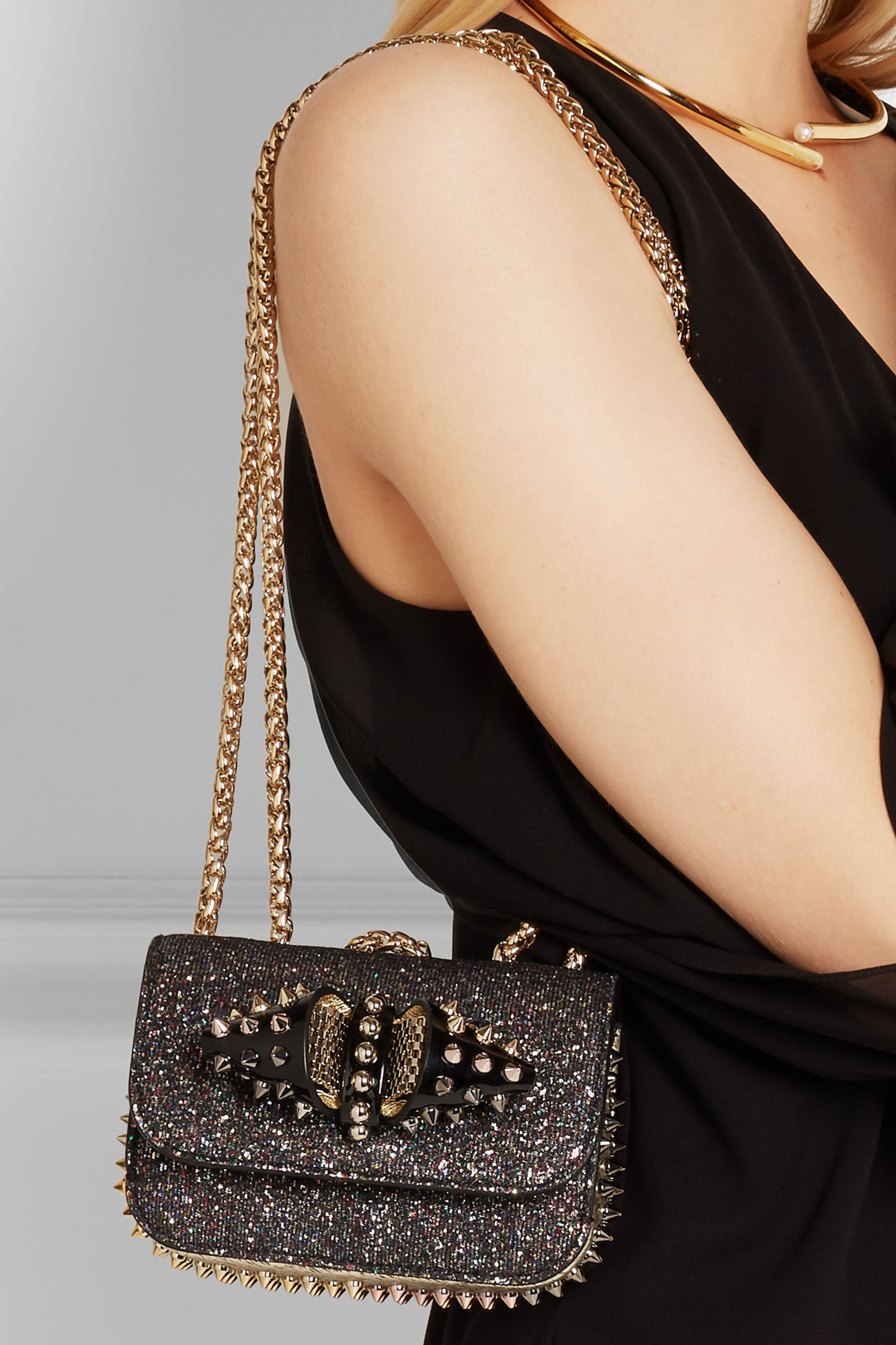 Christian Louboutin Sweet Charity mini studded glittered leather shoulder bag