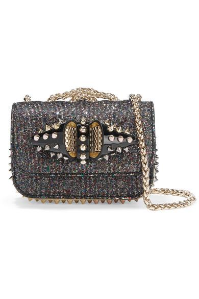 3ea3cbf1d71 Christian Louboutin | Sweet Charity mini studded glittered leather ...
