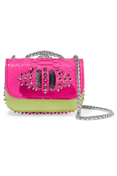 christian louboutin female 231934 christian louboutin sweet charity mini python and leather shoulder bag fuchsia