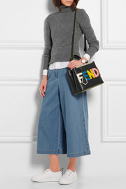 Fendi 2Jours small shearling-appliquéd textured-leather shopper