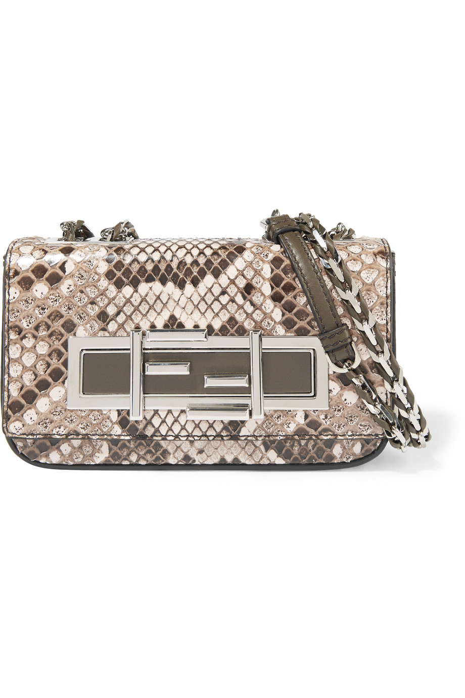 Fendi Baguette Mini Python Shoulder Bag, Neutral/Snake Print, Women's, Size: One Size