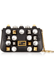Fendi Baguette micro embellished textured-leather shoulder bag