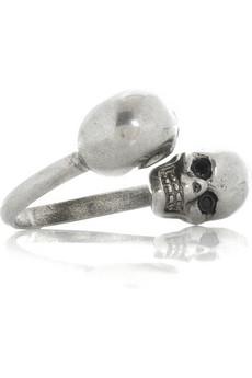 Alexander McQueen|Twin skull brass ring|NET-A-PORTER.COM