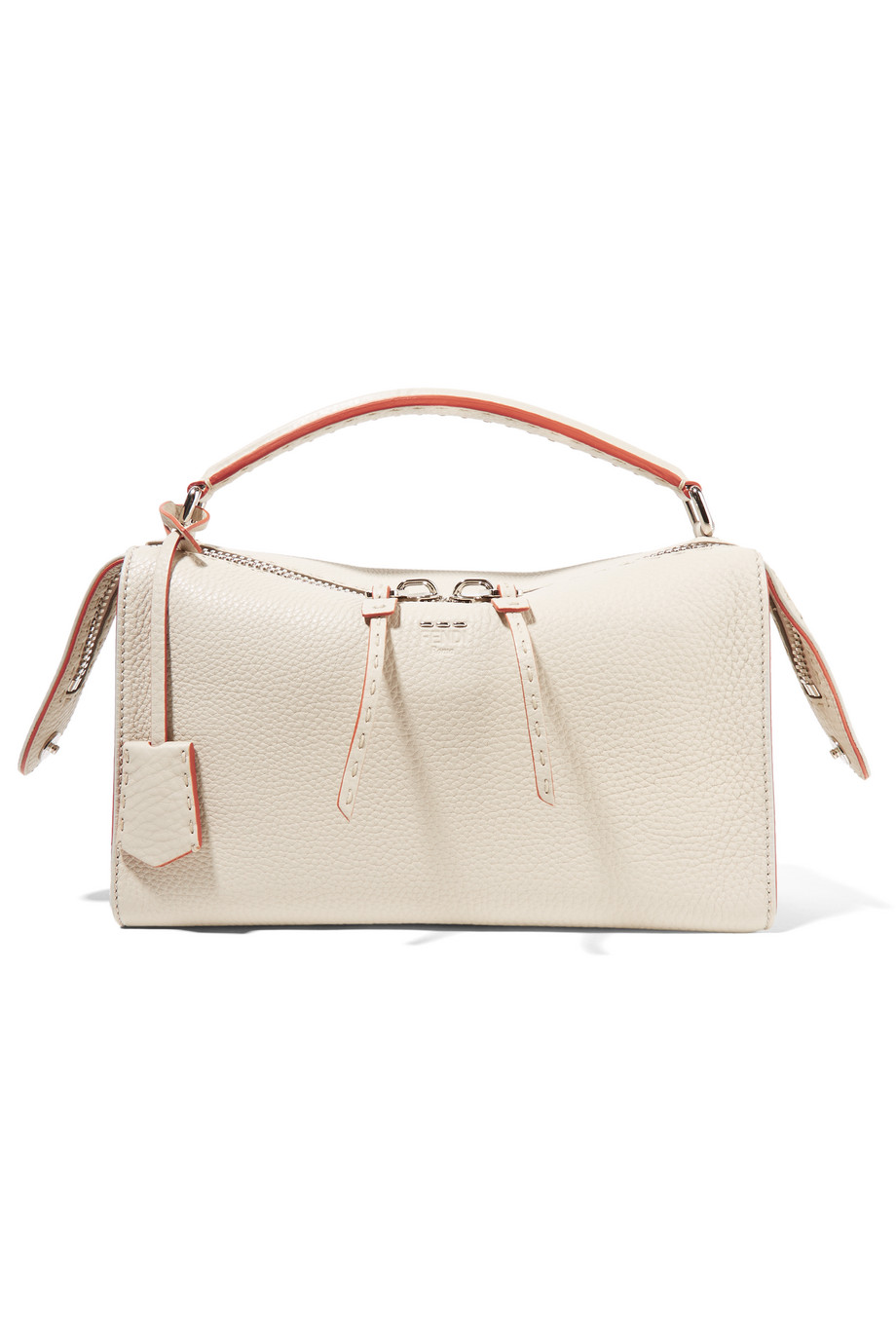 Fendi Lei Selleria Textured-Leather Tote, Ivory, Women's
