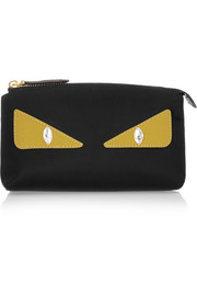 Fendi Monster Eyes embellished leather-trimmed shell cosmetics case