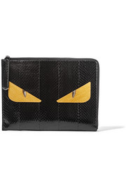 Bag Bugs large glossed-crocodile clutch