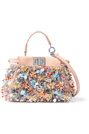 Fendi Peekaboo micro embellished satin-twill shoulder bag