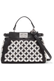 Fendi Peekaboo micro crystal-embellished satin shoulder bag