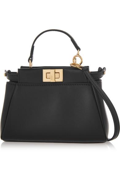 fendi female fendi peekaboo micro leather shoulder bag black