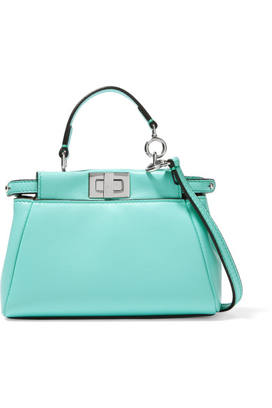 fendi female fendi peekaboo micro leather shoulder bag turquoise