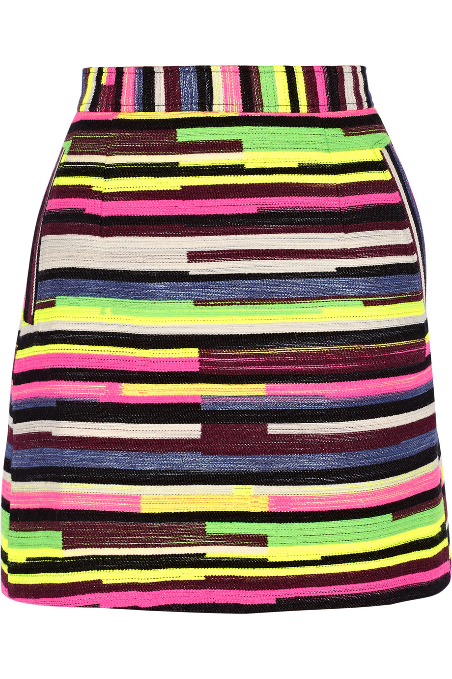 Gina Striped Jacquard Mini Skirt, House of Holland, Bright Pink/Lime Green, Women's, Size: 10