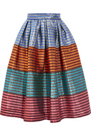 Tequila striped lamé midi skirt