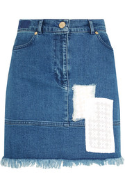 House of Holland Appliquéd stretch-denim mini skirt