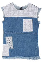 House of Holland Appliquéd stretch-denim top