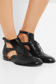 Cutout elaphe and leather ankle boots