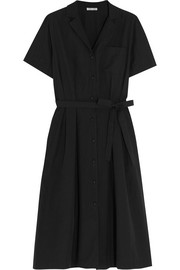 Belted cotton-poplin shirt dress
