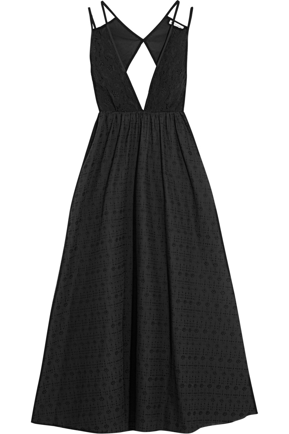Tomas Maier Cutout Guipure Lace and Broderie Anglaise Cotton Dress, Black, Women's, Size: 8