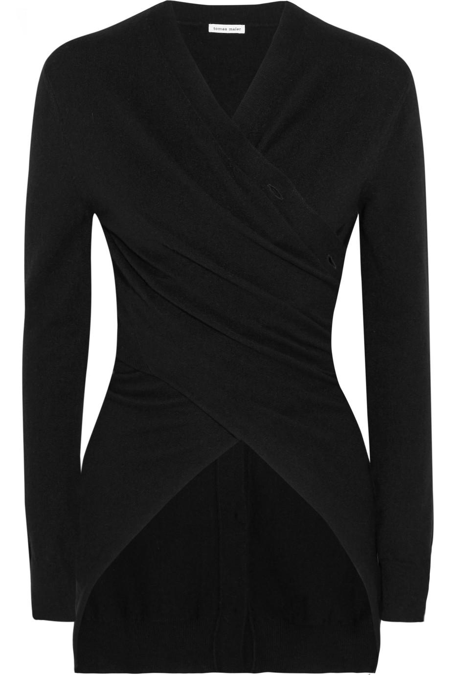 Tomas Maier Asymmetric Cashmere Wrap Cardigan, Black, Women's, Size: 0