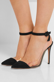 Suede and PVC pumps
