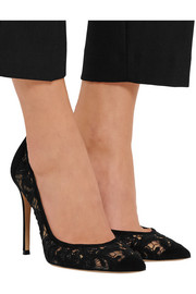 Gianvito Rossi Macramé and suede pumps