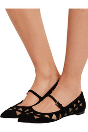 Mesh-paneled suede point-toe flats