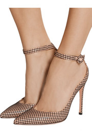 Leather and fishnet pumps