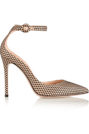 Gianvito Rossi Leather and fishnet pumps