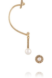 Gold-plated, faux pearl and crystal ear cuff and stud earring