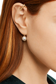 Oscar de la Renta Gold-plated, faux pearl and crystal ear cuff and stud earring