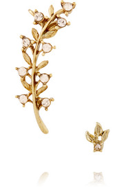 Oscar de la Renta Gold-plated crystal ear cuff and stud earring