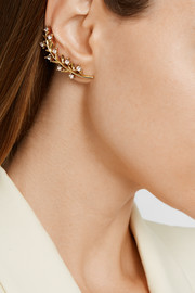 Gold-plated crystal ear cuff and stud earring
