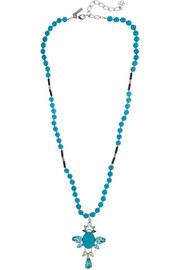 Turquoise, onyx and Swarovski crystal necklace