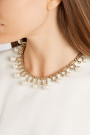 Gold-plated, Swarovski crystal and faux pearl necklace
