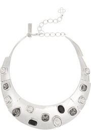 Oscar de la Renta Silver-plated Swarovski crystal necklace