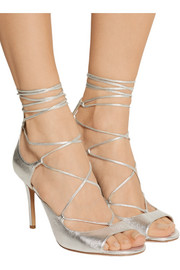 Valerie lace-up metallic leather sandals