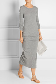 Ruched cotton-blend jersey dress