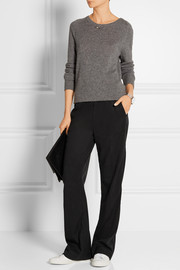 Brushed-twill wide-leg pants