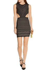 Hervé Léger Cutout stretch-jacquard mini dress