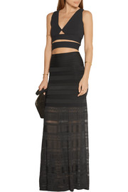 Hervé Léger Paneled bandage and stretch-knit maxi skirt