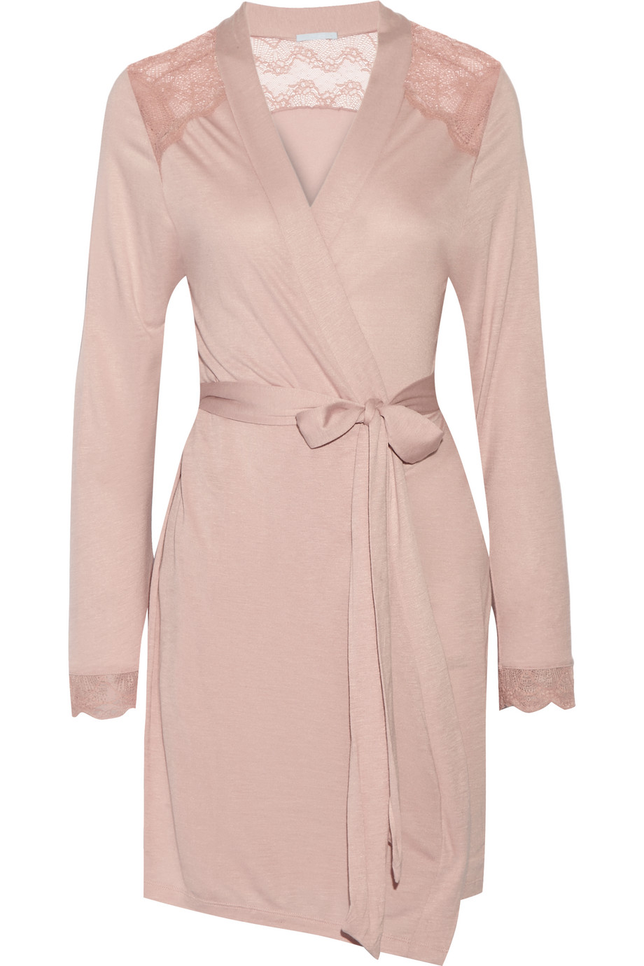 Eberjey Bonnie Lace-Paneled Jersey Robe, Antique Rose, Women's