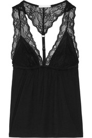 Georgette lace-paneled jersey camisole