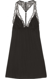 Eberjey Georgette lace-paneled jersey chemise