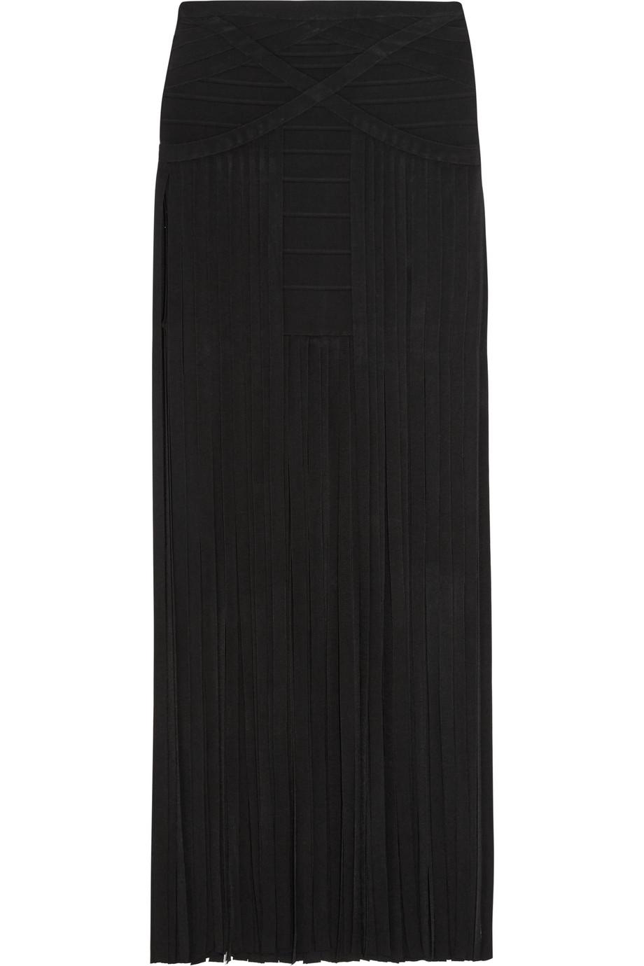 Hervé Léger Fringed Bandage Maxi Skirt, Black, Women's