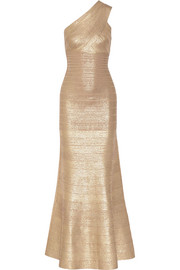 Lilyanna one-shoulder metallic bandage gown