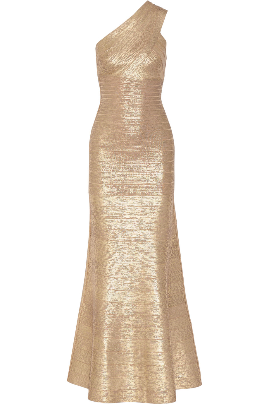 Hervé Léger Lilyanna One-Shoulder Metallic Bandage Gown, Gold, Women's