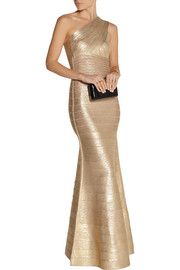Hervé Léger Lilyanna one-shoulder metallic bandage gown