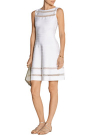 Hervé Léger Crochet-trimmed bandage mini dress