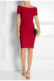 Hervé Léger Carmen off-the-shoulder bandage mini dress