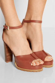 Ivy textured-leather platform sandals