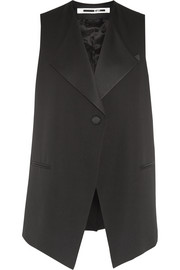 Satin-trimmed wool-crepe vest
